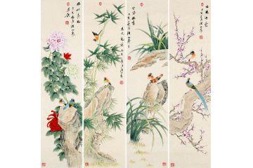 張洪山花鳥四條屏佳作《梅蘭竹菊》