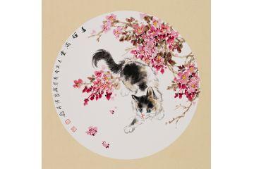 小品貓趣圖 晉葆良新品花鳥畫《春暉滿堂》