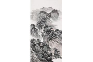 李國勝新品國畫四尺豎幅《幽谷鳴泉圖》