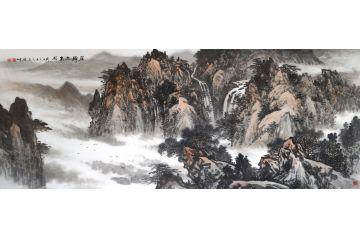 林德坤寫意山水畫新品佳作《雁歸三泉圖》