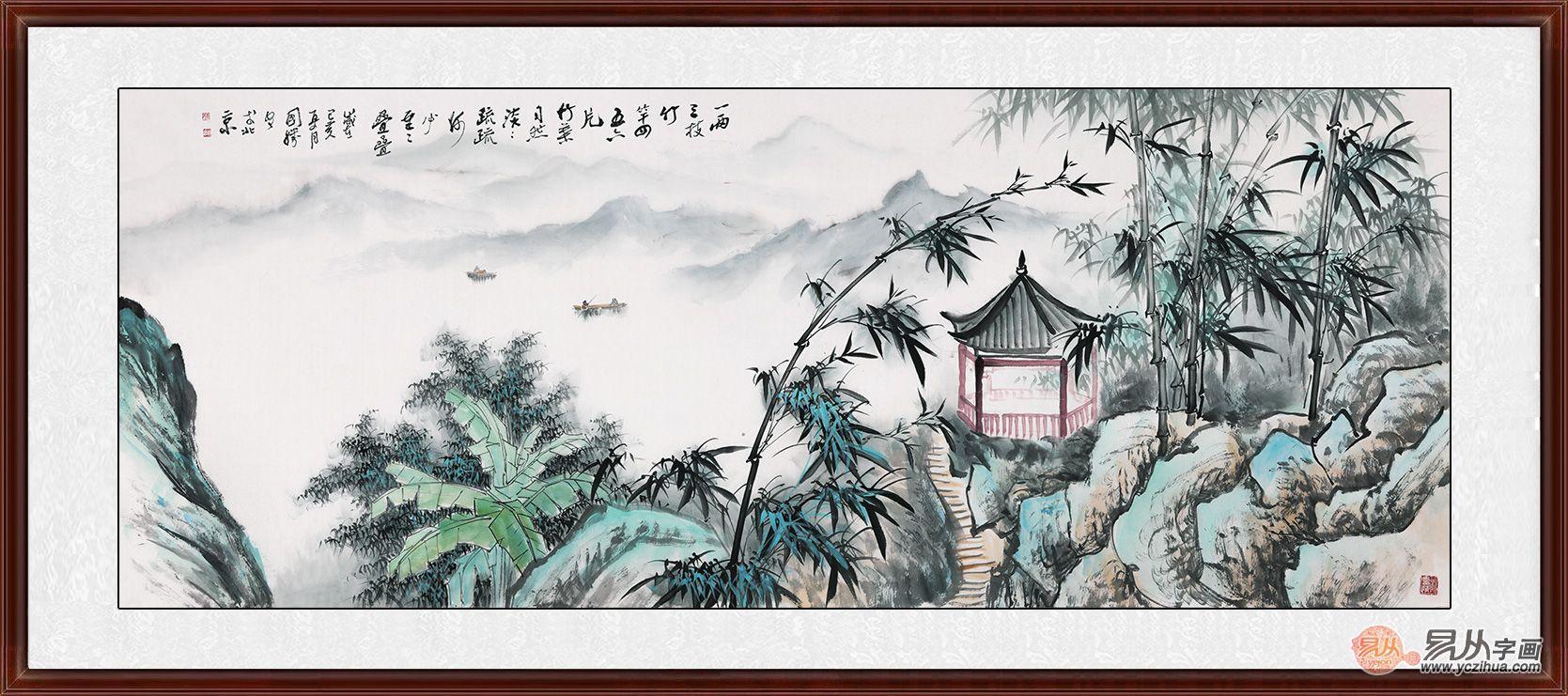 李国胜竹子山水画欣赏 一笔纸墨写尽人间意趣