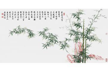 启功大弟子李传波四尺横幅绿竹画《咏新笋》