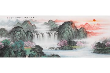 沙发背景装饰画 李国胜流水生财山水画《春回大地》