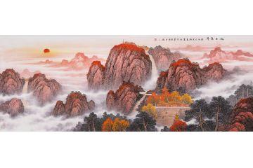 泰山日出山水画 李国胜新品五岳靠山图《旭日东升》