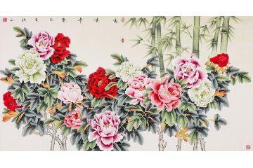 张洪山新品牡丹竹子图《富贵平安》