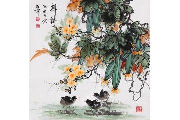 丝瓜图 石开写意花鸟画斗方新作《静诗》图片