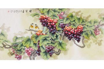 新生代潜力画家羽墨工笔葡萄作品《秋实图》