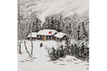 温馨雪景画 吴大恺新品创作山水画《回家》图片
