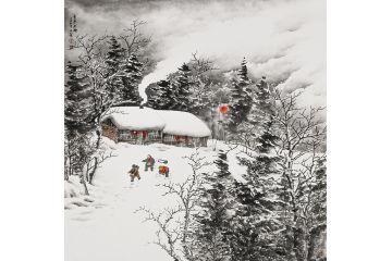 吴大恺新品力作斗方山水画雪景图《童年冬趣》图片