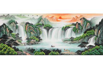 刘燕姣新品力作山水画流水生财聚宝盆《福山绣水》