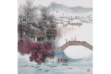 诸明新品创作江南山水画小品《小桥流水人家》