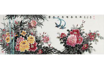 富贵双寿图 石开牡丹绶带鸟图《富贵比翼 福寿长安》