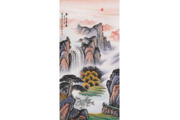 开门迎财 李林宏新品创作山水画《紫气东来》