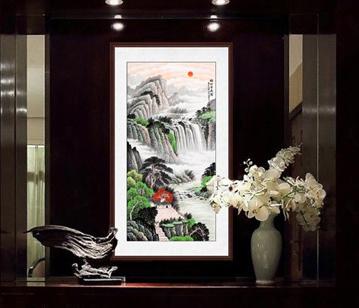 玄關招財畫,李林宏風水畫作品《福地安居圖》