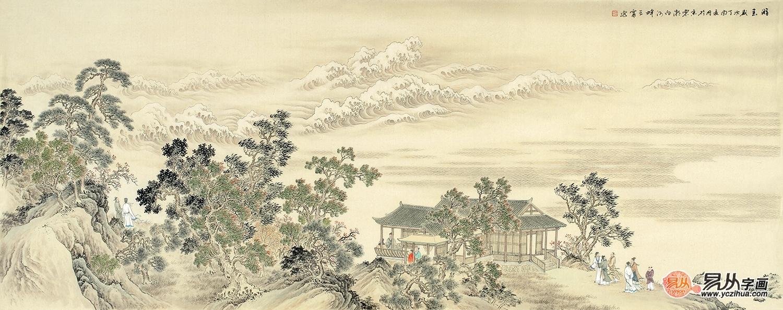 王寧精心力作六尺橫幅仿古精品山水畫作品《游春》
